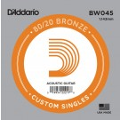 D'Addario BW045 Bronze Wound Acoustic Guitar Single String .045