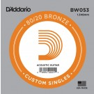 D'Addario BW053 Bronze Wound Acoustic Guitar Single String .053