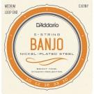 D'Addario EJ61NY 5-String Banjo Strings NY Steel Medium 10-23