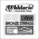 D'Addario EXPBW020 EXP Coated 80/20 Bronze Single String .020