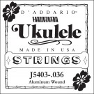 D'Addario J5403 Aluminum Wound  Tenor Ukulele Single String Third String .036
