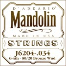 D'Addario J6204 80/20 Bronze Wound Mandolin Single String .034