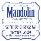 D'Addario J6703 Nickel Mandolin Single String .025