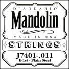 D'Addario J7401Plain Steel Mandolin Single String First String .011