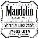 D'Addario J7402 Plain Steel Mandolin Single String Second String .015