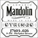 D'Addario J7403 Phosphor Bronze Mandolin Single String Third String .026
