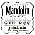 D'Addario J7404 Phosphor Bronze Mandolin Single String Fourth String .040