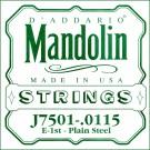 D'Addario J7501Plain Steel Mandolin Single String First String .0115