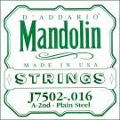 D'Addario J7502 Plain Steel Mandolin Single String Second String .016