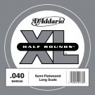 D'Addario NHR040 Half Round Bass Guitar Single String Long Scale .040