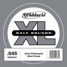 D'Addario NHR045S Half Round Bass Guitar Single String Short Scale .045