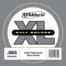 D'Addario NHR065S Half Round Bass Guitar Single String Short Scale .065