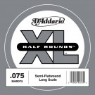 D'Addario NHR075 Half Round Bass Guitar Single String Long Scale .075