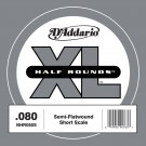 D'Addario NHR080S Half Round Bass Guitar Single String Short Scale .080