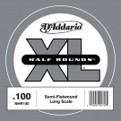 D'Addario NHR100 Half Round Bass Guitar Single String Long Scale .100