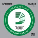 D'Addario NW026 Nickel Wound Electric Guitar Single String .026