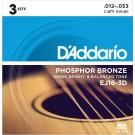 D'Addario 3 Pack of EJ16 Phosphor Bronze Acoustic Guitar Strings 12-53