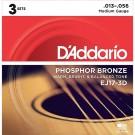 D'Addario 3 Pack of EJ17 Phosphor Bronze Acoustic Guitar Strings 13-56