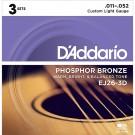 D'Addario 3 Pack of EJ26 Phosphor Bronze Acoustic Guitar Strings 11-52