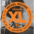 D'Addario 3 Pack of EXL110 10-46 Electric Guitar Strings