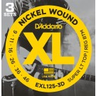 D'Addario 3 Pack of EXL125 9-46 Electric Guitar Strings