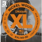 D'Addario 3 Pack of EXL140 10-52 Electric Guitar Strings