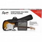 Fender Squier Series Stratocaster Electric Guitar Pack w/ Frontman 10G Amp - Brown Sunburst Strat Pack