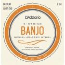 D'Addario EJ61 5-String Banjo Strings Nickel Medium 10-23