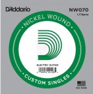 D'Addario NW070 Nickel Wound .070 inches (1.78 mm), Single String