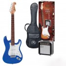 SX SE1SK 4/4 Size Electric Guitar Kit in Blue