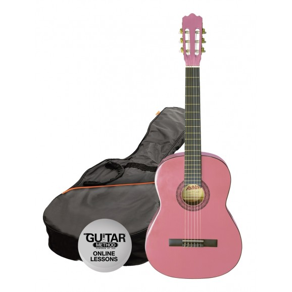 Ashton CG44 Nylon String Guitar Pack Pink