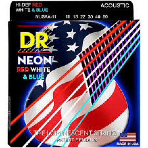 11-50 Neon USA Flag Colour Coated Acoustic Strings