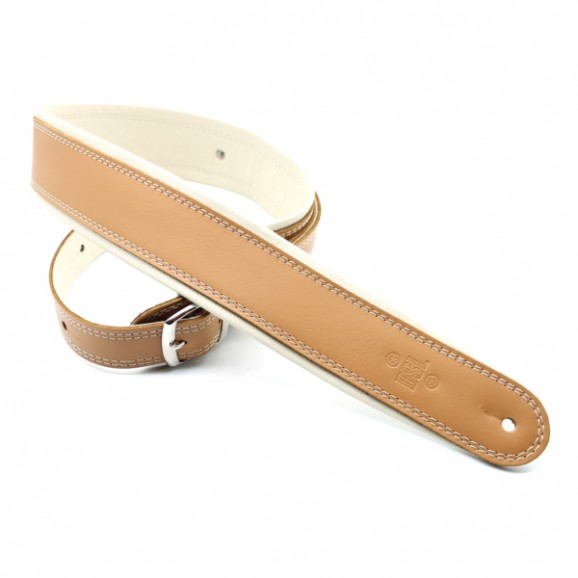 "DSL Straps - GEB25-18-3 2.5"" Rolled Edge Buckle Tan/Beige Guitar Strap"