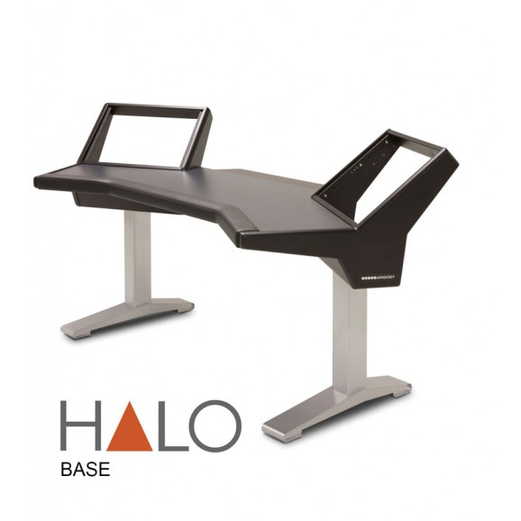 Argosy Halo Desk w/Black End Panels and Silver Legs