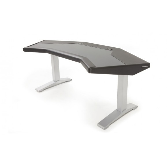Argosy Halo G Desk w/Black End Panels and Silver Legs