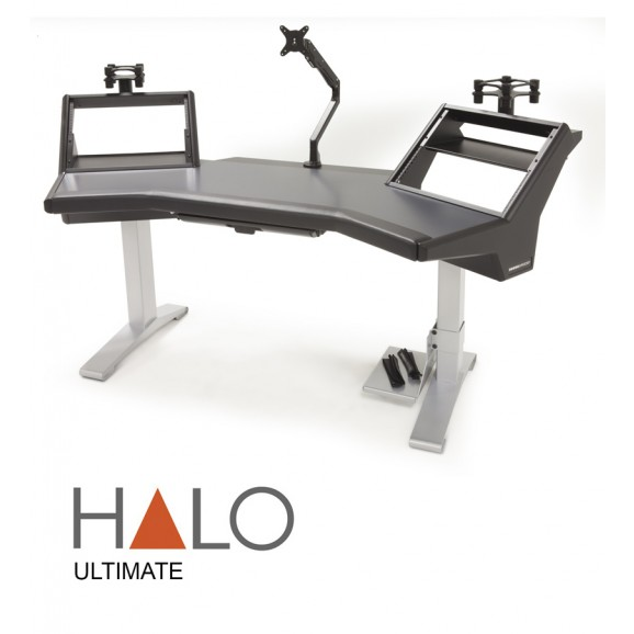 Argosy Halo Ultimate-Halo,2 Shelves,Pr. 160 Speaker Platforms,Accessory Drawer,D8 Monitor Arm, CPU Shelf