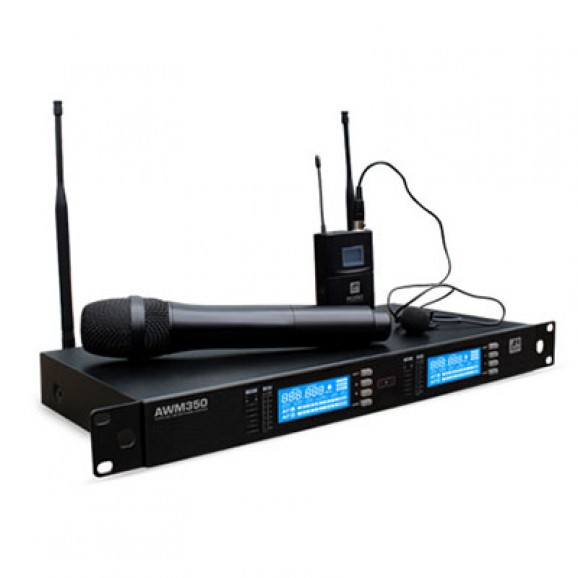 Ashton AWM350HTBP Dual Channel Wireless System with 1 x Handheld and 1 x Lapel/Headset Microphones