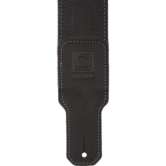 "Boss - 2.5"" Leather Guitar Strap in Black"