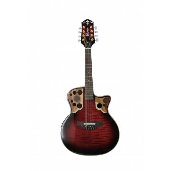 Crafter M88E Mandolin with Pick Up in Red Tiger Maple
