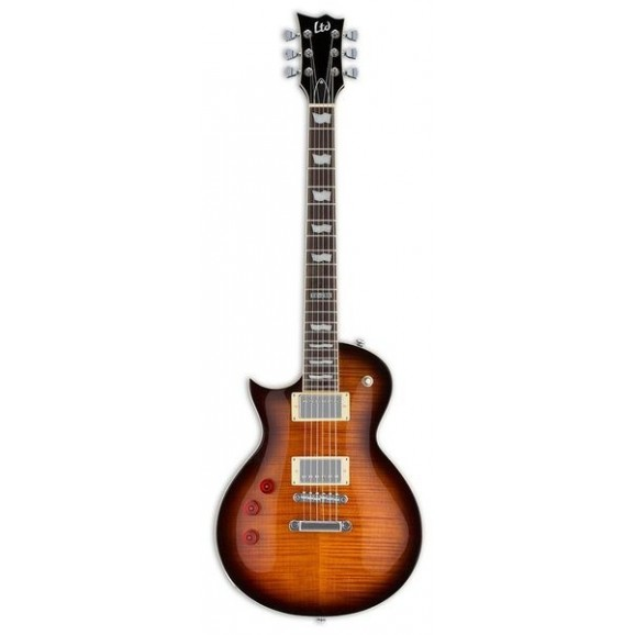 ESP LTD EC-256 Eclipse Flame Top Electric Guitar -  Left Hand Dark Brown Sunburst