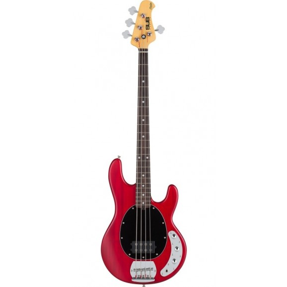 Sterling by Music Man Ray 4 Sub Bass Guitar 4 String Transparent Red Satin