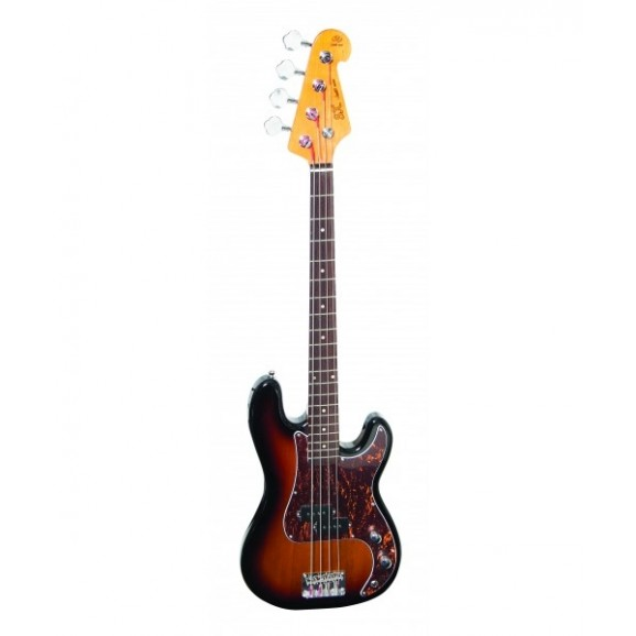 SX 3/4 Size Bass Guitar with Bag in Tobacco Sunburst